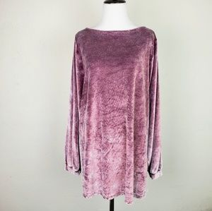 Cupio Blush Purple Pink Crushed Velvet Top